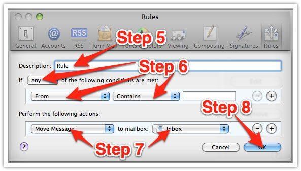 Email whitelisting mac
